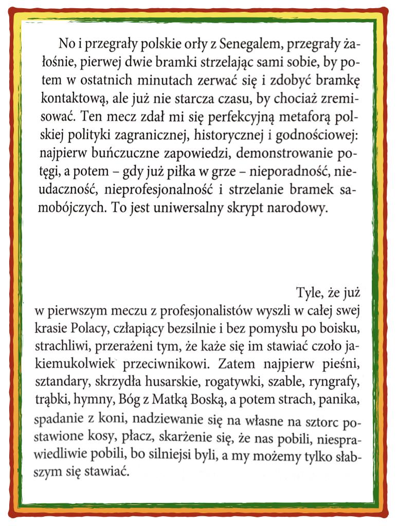 """Krzysztof Varga o udziale reprezentacji Polski w mistrzostwach świata w piłce nożnej (K. Varga """"Dziennik hipopotama"""")"""